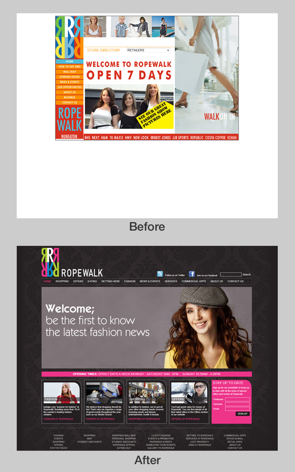 Ropewalk Shopping Centre website revamped by Steve Gunn & Associates and Beyond Creative Thinking.