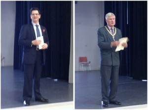 Steve Baker MP (left) and Bill Bendyshe-Brown, Chairman of Wycombe District Council, (right) speak at the opening ceremony of the Wycombe Business Expo.